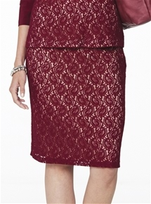 Monaco Bordeaux Lace Skirt