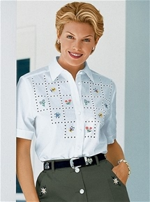 Short Sleeve Embroidered Blouse
