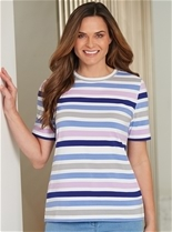 Short Sleeve Stripe Crew Tee