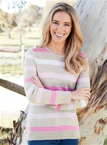 Crew Neck Long Sleeve Cashmere Sweater