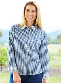 Contrast Trim Check Blouse