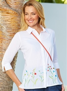 Embroidered Flowers Blouse