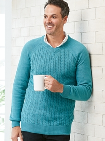 Mens Thermal Cable Knit Sweater