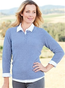 Chenille Button Neck Sweater