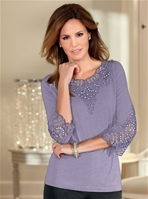 Embellished 3/4 Sleeve Top