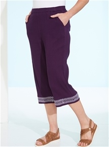 Embroidered Crinkle Cotton Crop Pants