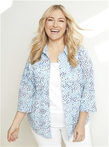 Printed Stretch Shirt [PLUS SIZE]