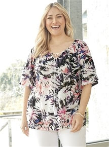 Print Tie Neck Top [PLUS SIZE]