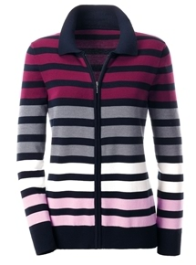 Zip Stripe Cardigan