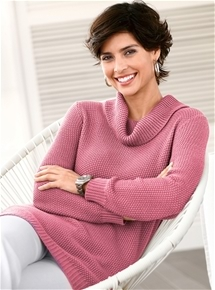 Open Weave Roll Neck Sweater