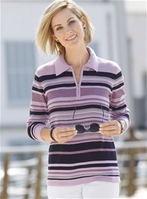 Fresh Stripes Polo Sweater