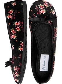 Floral Velour Ballet Slipper