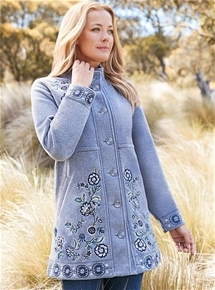 Embroidered Fleece Coat
