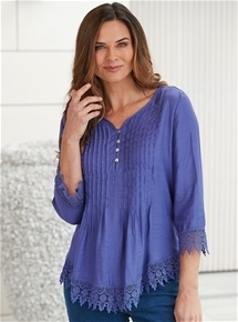 Pleated Lace Trim Tunic
