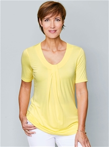 Pleat Neck Tunic Tee