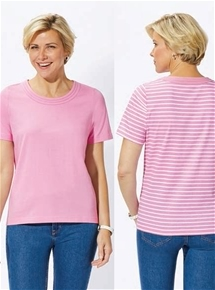 Stripe and Solid Two Pack Tees