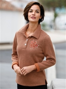 Floral Embroidered Polo Sweater