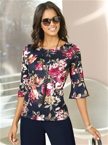 Rambling Roses Flared Sleeve Top