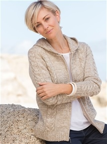 Cable Hooded Cardigan