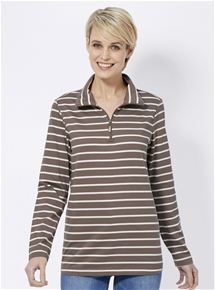 Striped Zip Polo