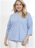 3/4 Sleeve Textured Tunic [PLUS SIZE]_17Y29_0